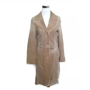 BALMAIN 100% Leather Suede Brown Beige Long Coat M
